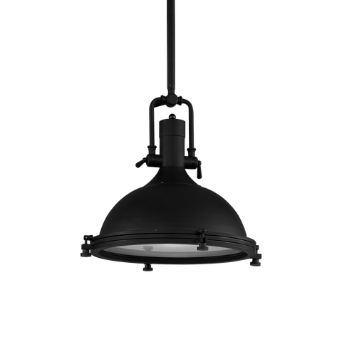 Single Modern Industrial Pendant Light (Matte Black)