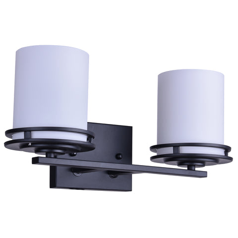 Twin Vanity Light (Matte Black w/ White Frosted Glass Shade)