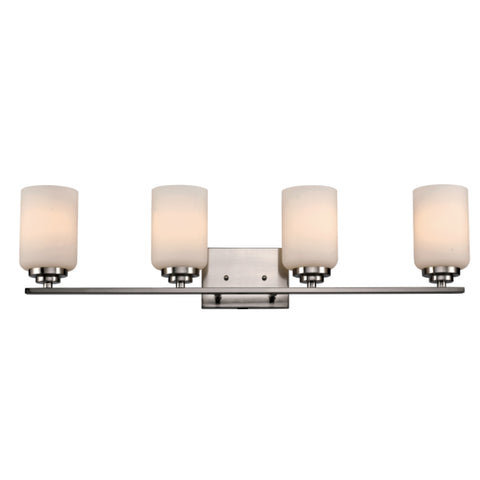 Quad Vanity Light (Brushed Nickel w/ White Frosted Glass Shade)