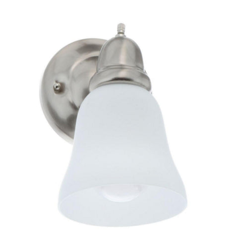 Single Vanity Light (Brushed Nickel w/ Frosted Glass Shade)