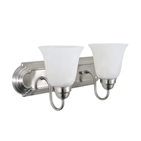 Twin Vanity Light (Brushed Nickel w/ Frosted Glass Shade)