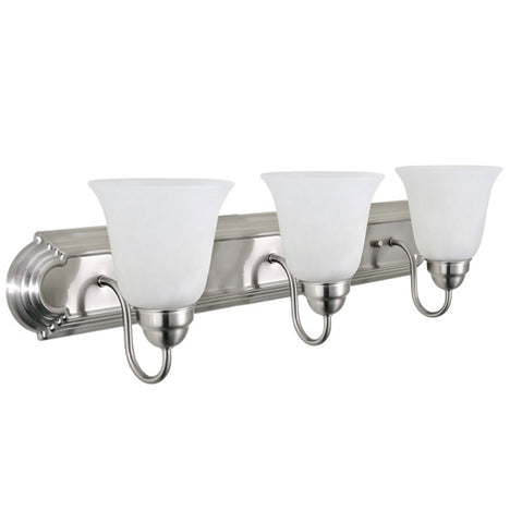 Triple Vanity Light (Brushed Nickel w/ Frosted Glass Shade)