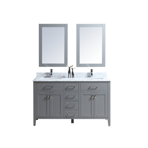 "60"" Double Sink Vanity Set with Mirror (Grey)"