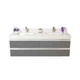 "60"" Floating Double Sink Vanity Set - Charcoal"
