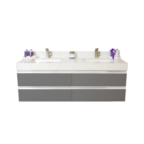 "72"" Floating Double Sink Vanity Set - Charcoal"