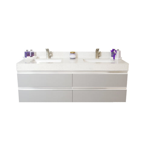 "72"" Floating Double Sink Vanity Set - Grey"