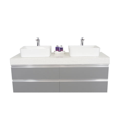 "60"" Floating Double Sink Vanity Set - Gray"