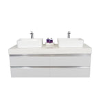 "60"" Floating Double Sink Vanity Set - White"