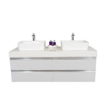 "72"" Floating Double Sink Vanity Set - White"