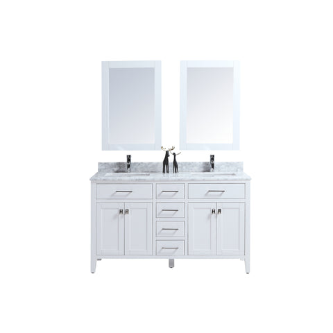 "60"" Double Sink Vanity Set with Mirror (White)"