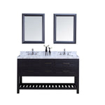 60″ Double Sink Vanity Set w/ Towel Rack - Charcoal