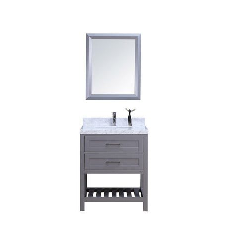 "30"" Single Sink Vanity Set w/ Towel Rack - Gray"