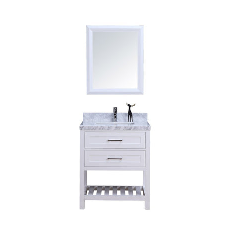 "30"" Single Sink Vanity Set w/ Towel Rack in White - BW-LUX9221-W"
