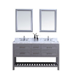 72″ Double Sink Vanity Set w/ Towel Rack - Gray