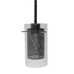 Single Pendant Light  (Black w/ Clear Glass Over Metal Mesh Cage)