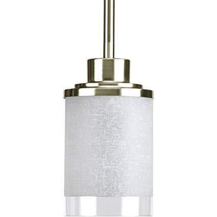 Single Pendant Light  (Brushed Nickel w/ White Linen Glass Shade)