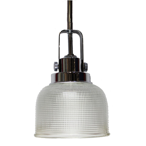 Single Pendant Light  (Polished Chrome w/ Prismatic Glass Bell Shades)