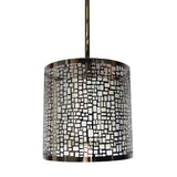 Single Bohemian Pendant Light (Ivory Fabric Shade w/ Polished Chrome Cage)