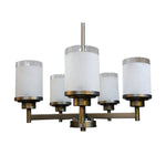 5 Light Chandelier (Brushed Nickel w/ White Linen Glass Shades)