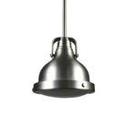 Single Barnhouse Pendant Light  (Brushed Nickel Shade w/ Crystal Glass)