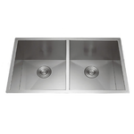 Handmade Undermount Stainless Steel 32 in. Double Bowl 50/50 Kitchen Sink