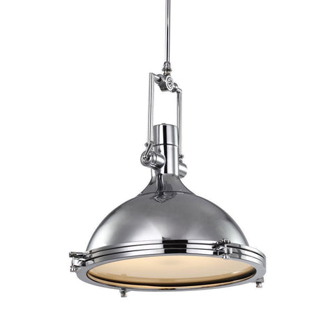 Single Modern Industrial Pendant Light (Brushed Nickel)