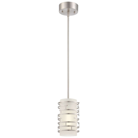Single Pendant Light  (Fabric Shade w/ Brushed Nickel Cage)