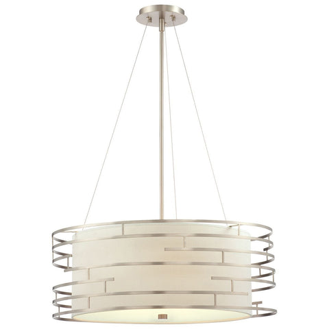 Triple Light Drum Pendant Light (Fabric Shade w/ Brushed Nickel Cage)
