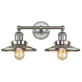 Twin Vanity Light (Brushed Nickel Barn Shades)
