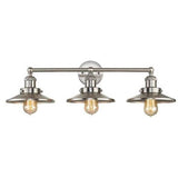 Triple Vanity Light (Brushed Nickel Barn Shades)