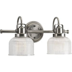 Twin Vanity Light (Brushed Nickel w/ Prismatic Glass Bell Shades)