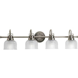 Quad Vanity Light (Brushed Nickel w/ Prismatic Glass Bell Shades)