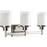 Triple Vanity Light (Brushed Nickel w/ White Linen Glass Shade)