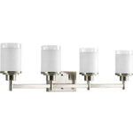 Quad Vanity Light (Brushed Nickel w/ White Linen Glass Shade)