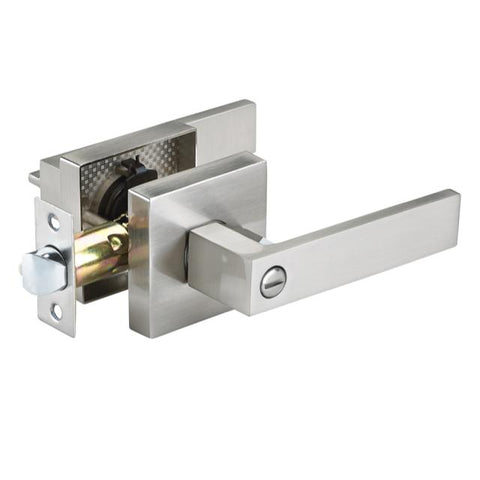 Square Handle Privacy Door Lever ( Brushed Nickel )