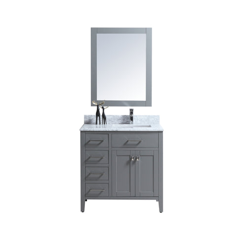 "36"" Single Sink Vanity Set with Mirror (Grey)"