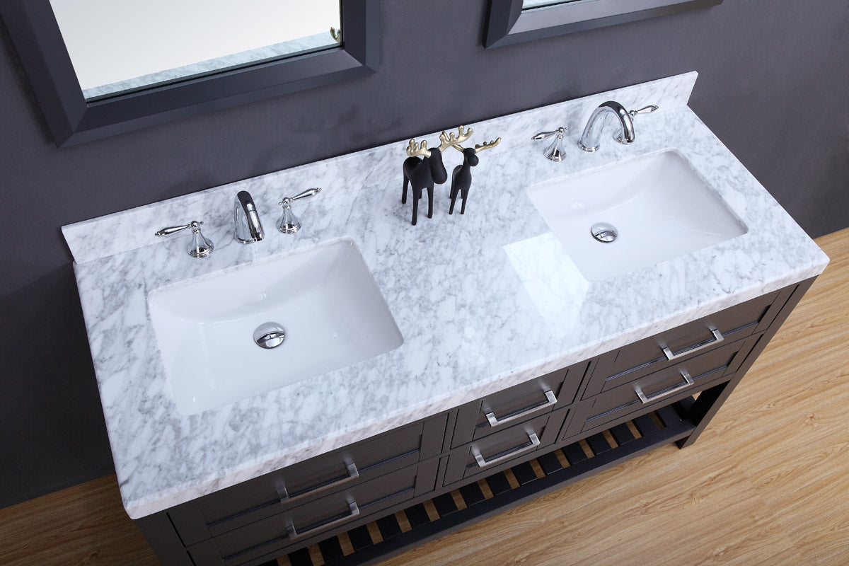 Lucca 60″ Double sink vanity set (Excludes mirrors) - Charcoal ...