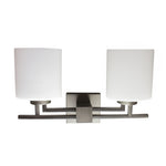 Twin Vanity Light (Brushed Nickel w/ Frosted Opal Glass Shade)