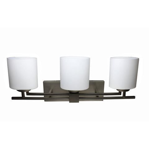 Triple Vanity Light (Brushed Nickel w/ Frosted Opal Glass Shade)