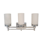 Triple Vanity Light (Polished Chrome w/ White Satin Glass Shade)