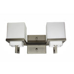 Twin Vanity Light (Brushed Nickel w/ Satin-Etched Opal Cube Glass Shade)