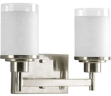 Twin Vanity Light (Brushed Nickel w/ White Linen Glass Shade)
