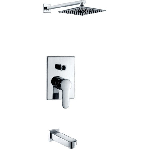 Single Handle Concealed Shower and Tub Faucet Set w/ Brass Pressure Balanced Valve (Brushed Nickel)