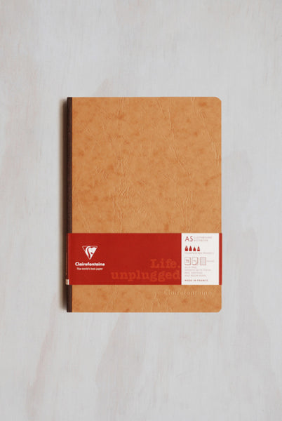 Clairefontaine - Cloth-Bound Notebook - Ruled - A5 - Tobacco
