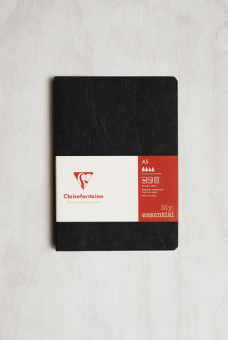 Clairefontaine - Essentials Square-Edged Notebook - Ruled - A5 - Black