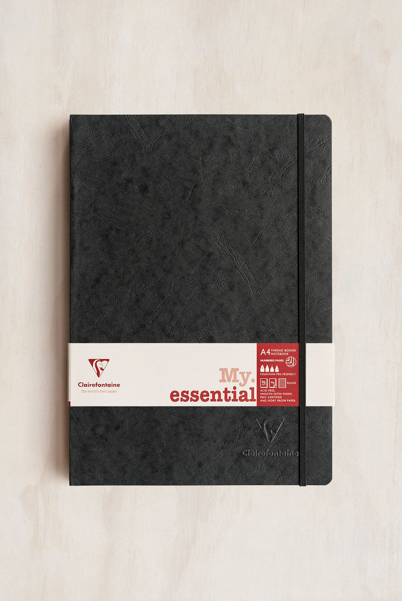 Clairefontaine - Thread-Bound Notebook - Ruled - A4 - Black