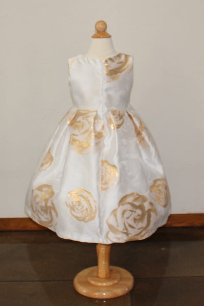 Girl's 'Bella' Ballgown in Metallic Gold Rose print