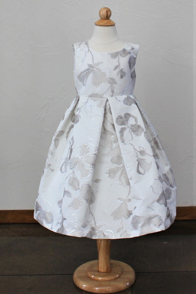 Girl's 'Bella' Ballgown in Silver Floral Print