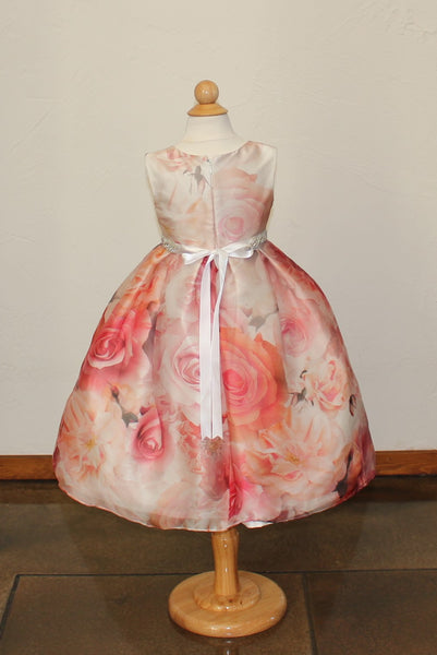 Girl's 'Bella Ballgown in Rose Print