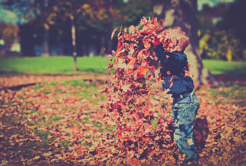 A little boy enjoys connects with nature by playing with leaves - nature play - a Slow Parenting idea